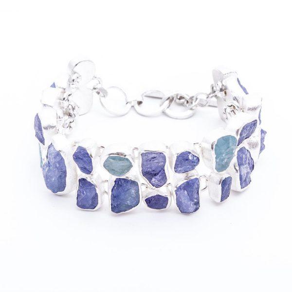 Tanzanite & Aquamarine Gemstone Handmade Bracelet