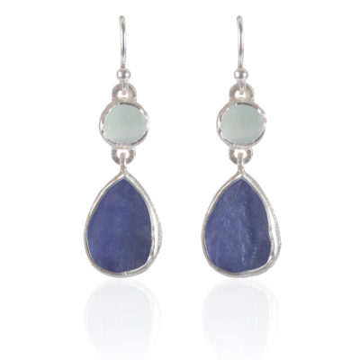 Handmade Aquamarine and Tanzanite Gemstone Sterling Silver Ladies Earrings