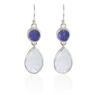 Handmade Moonstone and Tanzanite Gemstone Sterling Silver Ladies Earrings