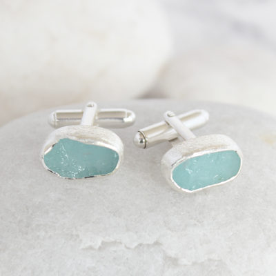 Natural Aquamarine Handmade Sterling Silver Mens Cufflinks