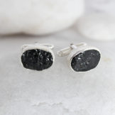 Black Tourmaline Gemstone Handmade Sterling Silver Cufflinks