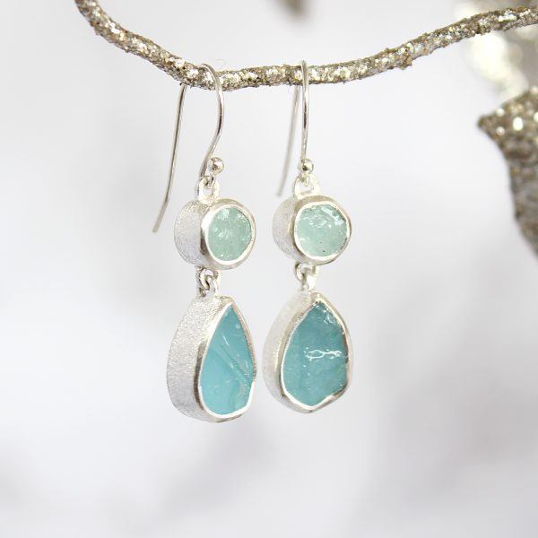 Handmade Designer Aquamarine Gemstone Sterling Silver Ladies Earrings