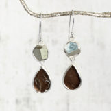 Pyrite And Smoky Quartz Sterling Silver Ladies Earrings