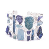 Aquamarine, Tanzanite And Kyanite Handmade Sterling Silver Statement Bracelet