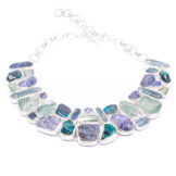 Aquamarine, Tanzanite, Chrysocolla, Kyanite Gemstone Statement Silver Necklace