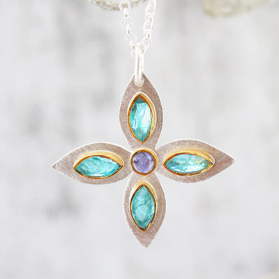 Handmade Apatite And Tanzanite Gemstone Petal Sterling Silver Ladies Pendant