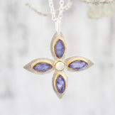 Handmade Tanzanite and Moonstone Gemstone Petal Sterling Silver Ladies Pendant
