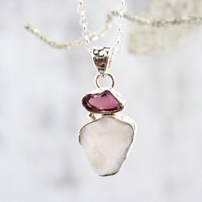 Pink Opal And Rhodolite Garnet Gemstone Sterling Silver Ladies Pendant