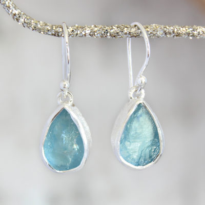 Aquamarine Gemstone Drop Ladies Sterling Silver Earrings