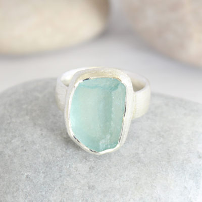 Aquamarine Gemstone Ladies Statement Sterling Silver Ring