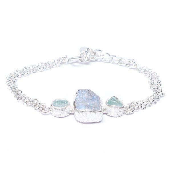 Moonstone And Aquamarine Handmade Sterling Silver Bracelet