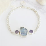 Moonstone And Tanzanite Handmade Sterling Silver Bracelet