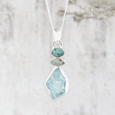 Aquamarine And Apatite Gemstone Sterling Silver Ladies Pendant