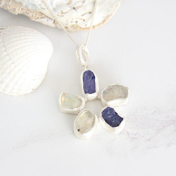 Handmade Moonstone and Tanzanite Gemstone Flower Ladies Pendant
