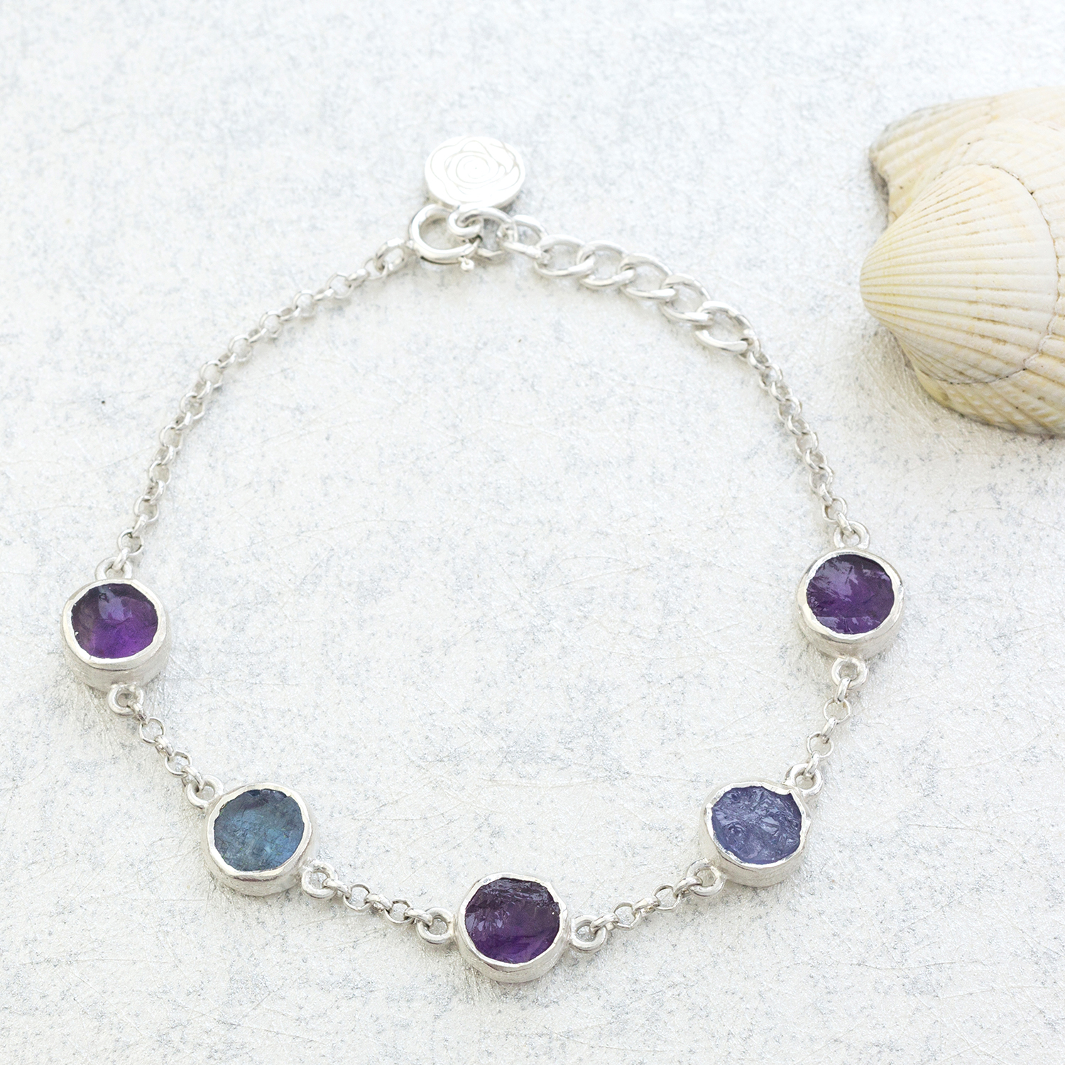 Amethyst And Tanzanite Gemstone Handmade Sterling Silver Ladies Bracelet