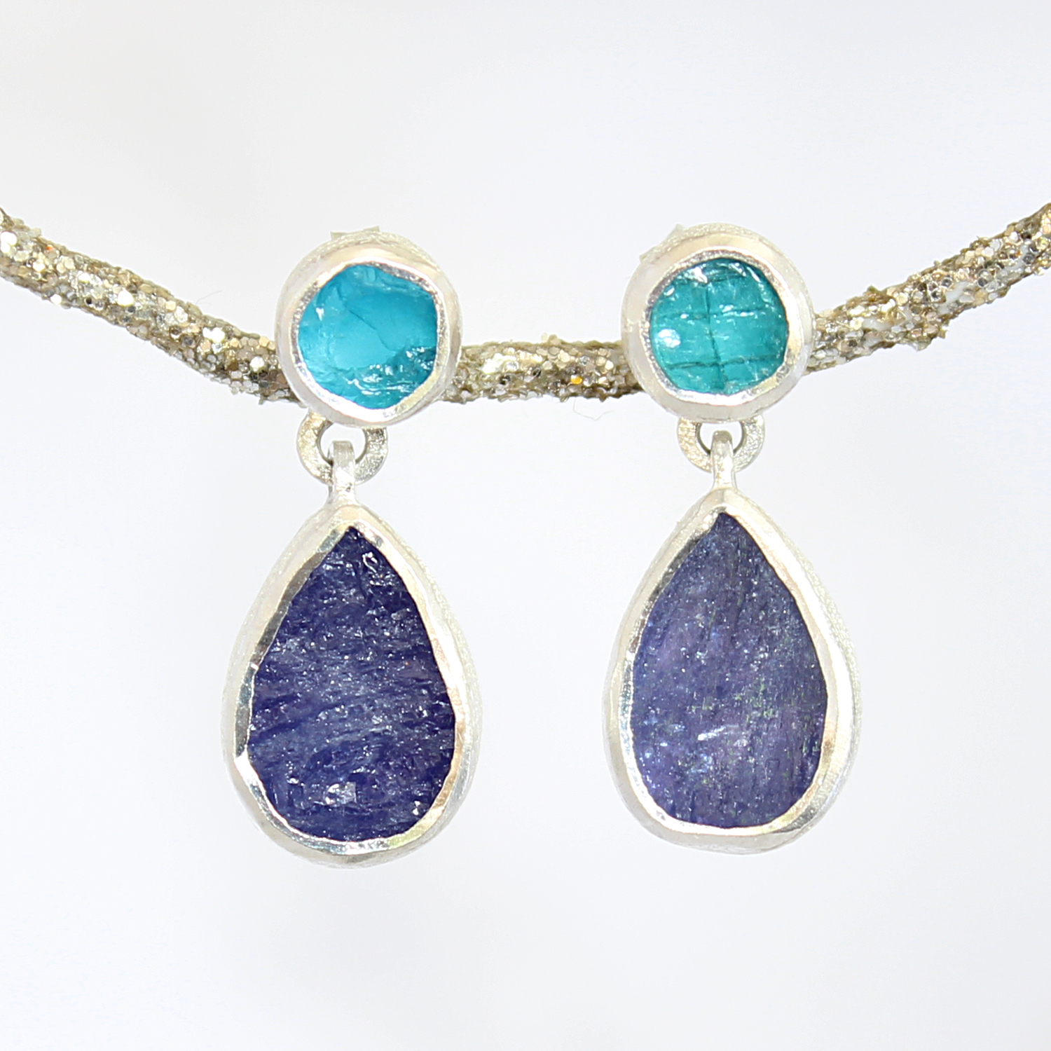 Tanzanite And Apatite Gemstone Handmade Silver Earrings
