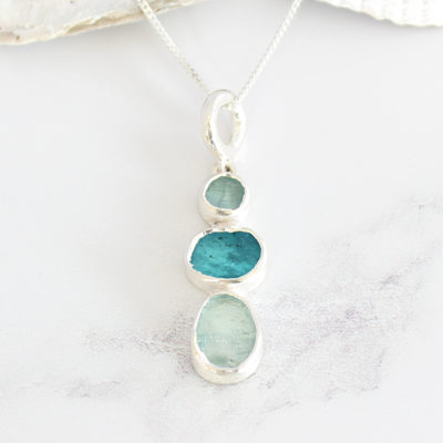 Aquamarine And Apatite Natural Gemstone Ladies Sterling Silver Pendant