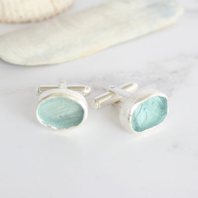 Rough Aquamarine Handmade Sterling Silver Cufflinks