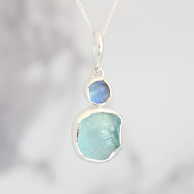 Aquamarine And Moonstone Gemstone Ladies Silver Pendant