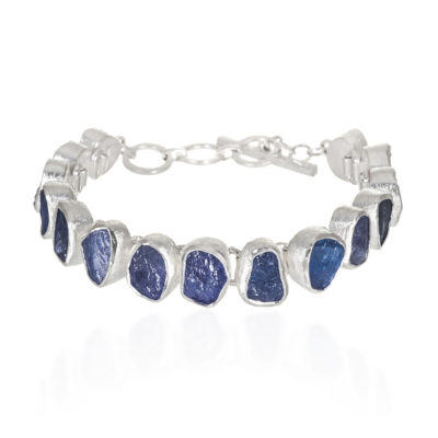 Tanzanite Gemstone Designer Handmade Sterling Silver Ladies Bracelet