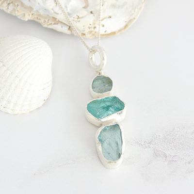 Aquamarine And Apatite Gemstone Ladies Silver Pendant