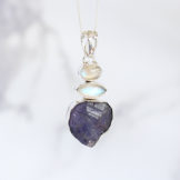 Tanzanite and Moonstone Natural Gemstone Ladies Sterling Silver Pendant
