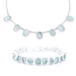 Aquamarine Handmade Designer Ladies Necklace And Bracelet Jewellery Set