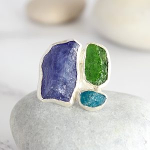 Apatite, Tanzanite And Chrome Diopside Gemstone Sterling Silver Ladies Ring