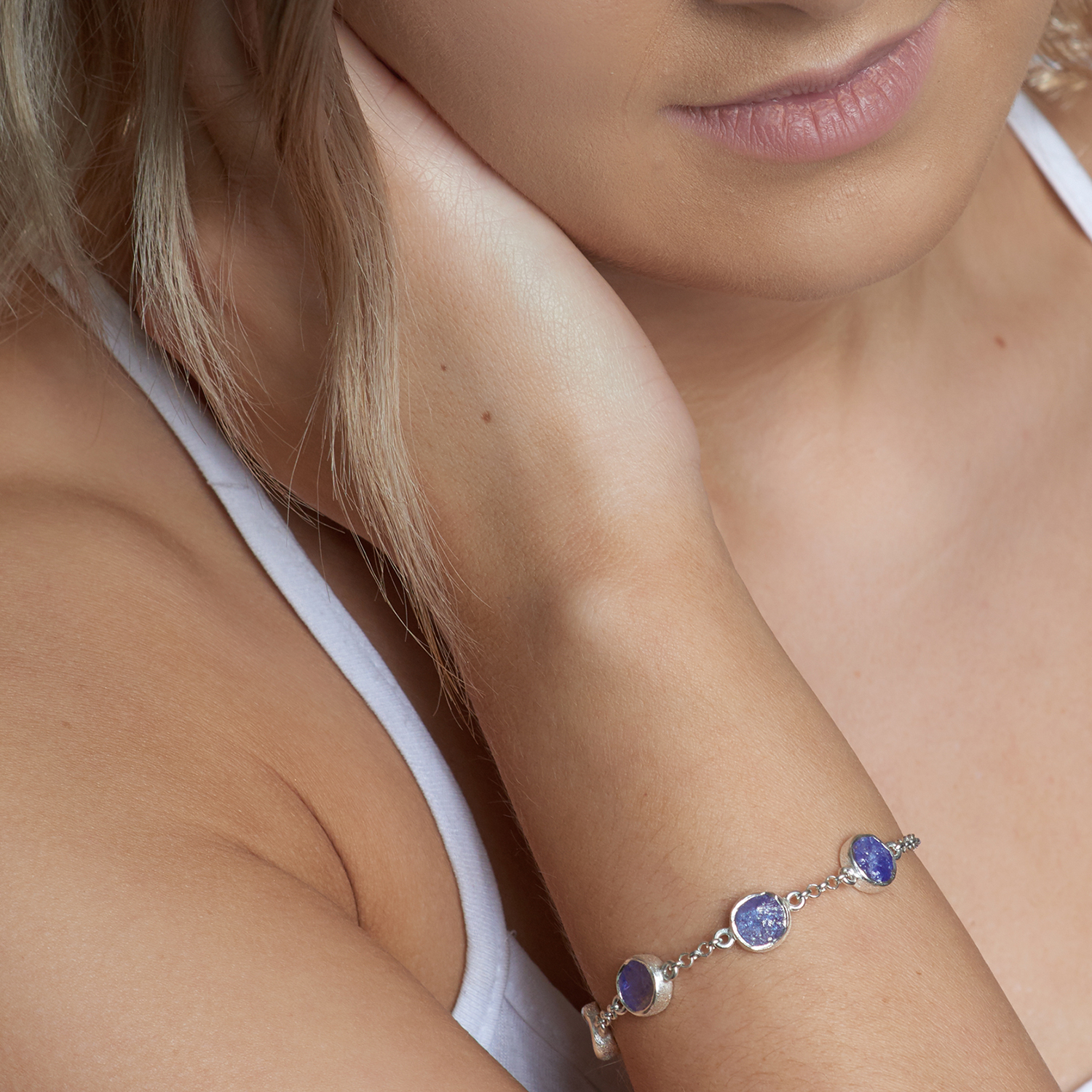 Tanzanite Gemstone Handmade Sterling Silver Ladies Bracelet