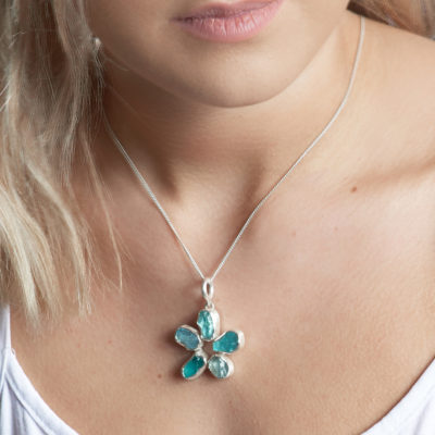Handmade Aquamarine And Apatite Gemstone Flower Ladies Pendant