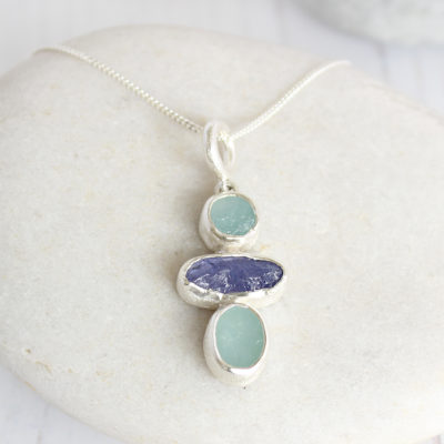Aquamarine And Tanzanite Gemstone Ladies Pendant