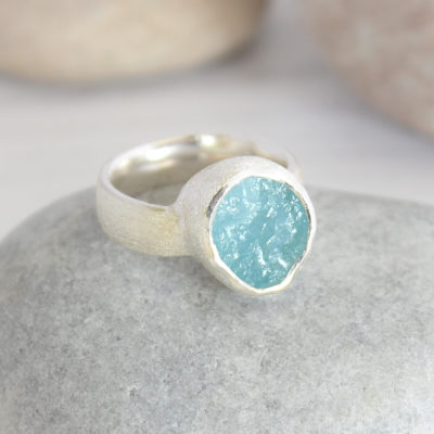 Aquamarine Natural Gemstone Chunky Silver Ring