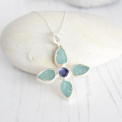 Aquamarine And Tanzanite Gemstone Petal Pendant