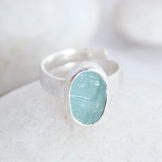 Aquamarine Natural Gemstone Adjustable Handmade Ladies Sterling Silver Ring