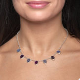 Amethyst and Tanzanite Gemstone Handmade Sterling Silver Ladies Necklace