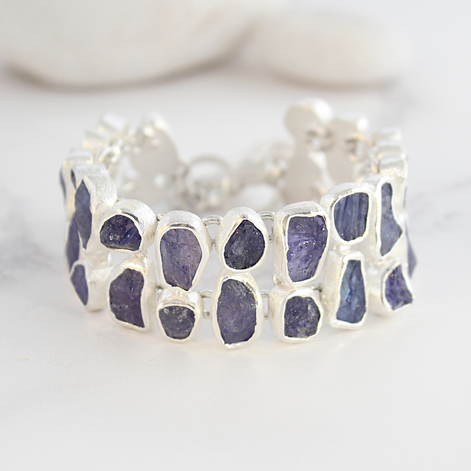 Tanzanite Gemstone Chunky Handmade Sterling Silver Ladies Bracelet