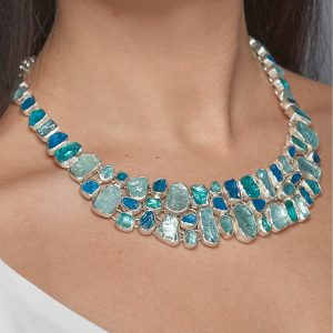 Aquamarine And Apatite Gemstone Sterling Silver Ladies Statement Necklace