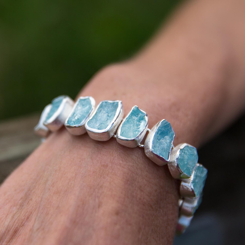 Aquamarine Gemstone Designer Handmade Sterling Silver Las Bracelet