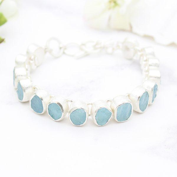 Aquamarine Gemstone Designer Handmade Sterling Silver Ladies Bracelet