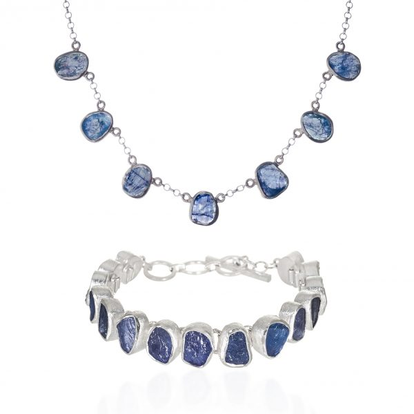 Tanzanite Natural Gemstone Ladies Necklace And Bracelet Jewellery Gift Set