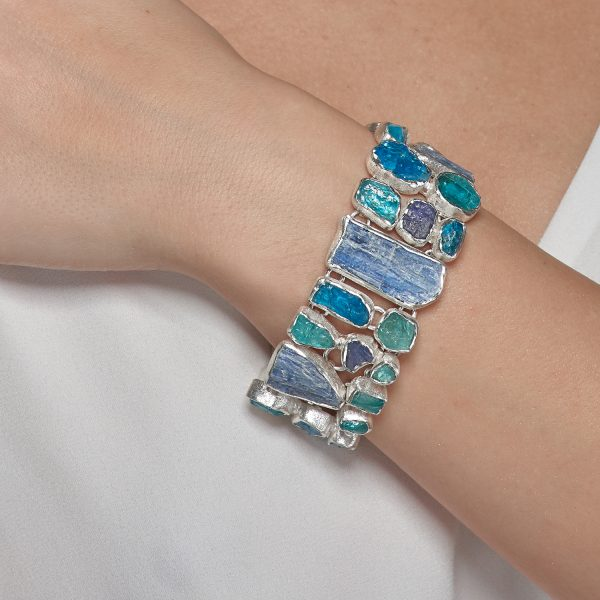 Apatite, Tanzanite And Kyanite Statement Designer Sterling Silver Ladies Bracelet
