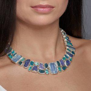 Statement Apatite, Tanzanite And Kyanite Gemstone Necklace