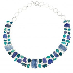 Statement Apatite, Tanzanite And Kyanite Gemstone Necklace
