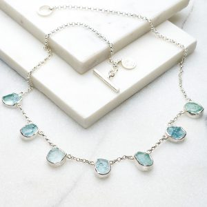 Aquamarine gemstone handmade silver necklace