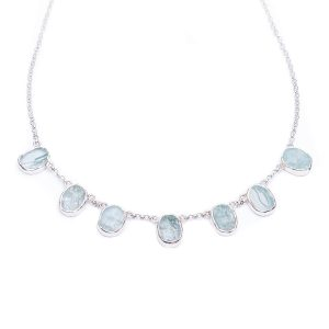 Aquamarine Gemstone Handmade Sterling Silver Ladies Necklace