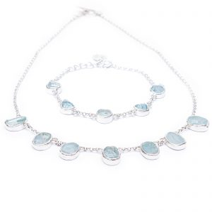 Handmade Aquamarine Ladies Necklace And Bracelet Jewellery Set