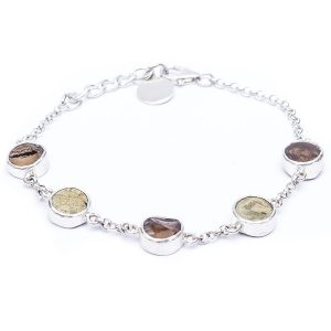 Smoky Quartz and Pyrite Handmade Sterling Silves Ladies Bracelet