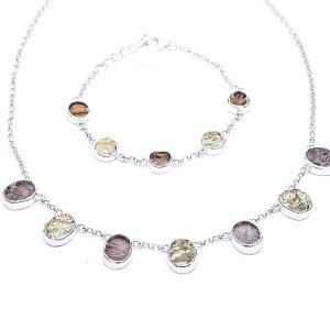 Handmade Pyrite And Smoky Quartz Ladies Necklace And Bracelet Set