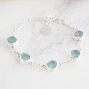 Aquamarine Gemstone Sterling Silver Handmade Ladies Bracelet