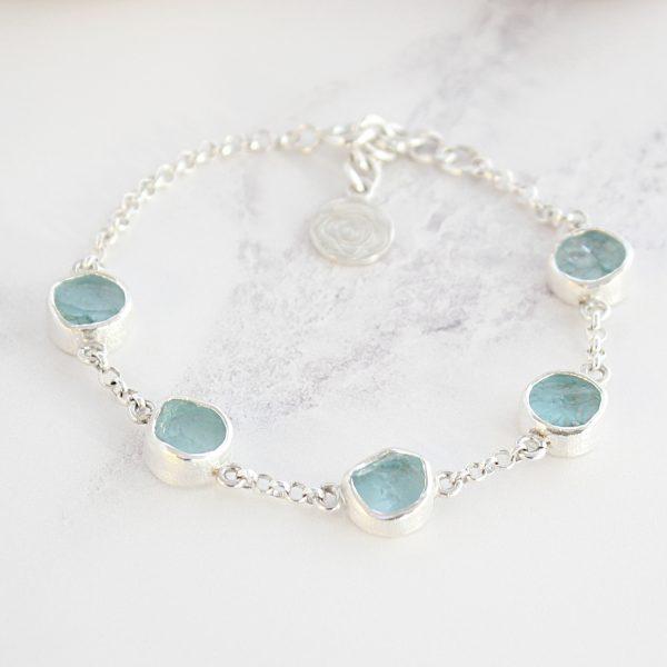 Aquamarine Gemstone Sterling Silver Handmade Ladies Bracelet